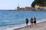 10 March 2020; Republic of Ireland players, from left, Julie-Ann Russell, Jamie Finn and Claire Walsh during a walk along the beach in Petrovac, Montenegro, ahead of their side's UEFA Women's 2021 European Championships Qualifier. Photo by Stephen McCarthy/Sportsfile