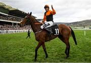 10 March 2020; Jockey Aidan Coleman on Put The Kettle On celebrates after winning the Racing Post Arkle Challenge Trophy Novices' Chase on Day One of the Cheltenham Racing Festival at Prestbury Park in Cheltenham, England. Photo by Harry Murphy/Sportsfile