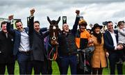 10 March 2020; Jockey Aidan Coleman, orange silks, with Put The Kettle On and winning Connections, including trainer Henry De Bromhead, third from left, after winning the Racing Post Arkle Challenge Trophy Novices' Chase on Day One of the Cheltenham Racing Festival at Prestbury Park in Cheltenham, England. Photo by David Fitzgerald/Sportsfile