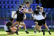 10 March 2020; Yousif Ajina of Terenure College is tackled by Shane Davitt, left, and Michael Collins of Newbridge College during the Bank of Ireland Leinster Schools Junior Cup Semi-Final match between Terenure College and Newbridge College at Energia Park in Donnybrook, Dublin. Photo by Ramsey Cardy/Sportsfile