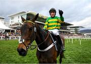 10 March 2020; Barry Geraghty on Epatante celebrates after winning the Unibet Champion Hurdle Challenge Trophy on Day One of the Cheltenham Racing Festival at Prestbury Park in Cheltenham, England. Photo by Harry Murphy/Sportsfile