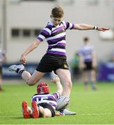 10 March 2020; Harvey O'Leary kicks a conversion, assisted by Terenure College team-mate Jim Kennedy during the Bank of Ireland Leinster Schools Junior Cup Semi-Final match between Terenure College and Newbridge College at Energia Park in Donnybrook, Dublin. Photo by Ramsey Cardy/Sportsfile