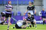 10 March 2020; Harry Farrell, 13, celebrates with Newbridge College team-mates Adam Larkin-Smithers, left, and Tadhg Brophy after scoring his side's second try during the Bank of Ireland Leinster Schools Junior Cup Semi-Final match between Terenure College and Newbridge College at Energia Park in Donnybrook, Dublin. Photo by Ramsey Cardy/Sportsfile