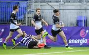 10 March 2020; Harry Farrell of Newbridge College on his way to scoring his side's second try during the Bank of Ireland Leinster Schools Junior Cup Semi-Final match between Terenure College and Newbridge College at Energia Park in Donnybrook, Dublin. Photo by Ramsey Cardy/Sportsfile