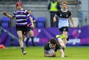 10 March 2020; Harry Farrell of Newbridge College scores his side's second try during the Bank of Ireland Leinster Schools Junior Cup Semi-Final match between Terenure College and Newbridge College at Energia Park in Donnybrook, Dublin. Photo by Ramsey Cardy/Sportsfile