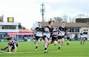 10 March 2020; Tadhg Brophy of Newbridge College on his way to scoring his side's third try during the Bank of Ireland Leinster Schools Junior Cup Semi-Final match between Terenure College and Newbridge College at Energia Park in Donnybrook, Dublin. Photo by Ramsey Cardy/Sportsfile