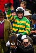 10 March 2020; Jockey Barry Geraghty celebrates after winning the Unibet Champion Hurdle Challenge Trophy on Epatante on Day One of the Cheltenham Racing Festival at Prestbury Park in Cheltenham, England. Photo by Harry Murphy/Sportsfile
