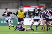 10 March 2020; Tadhg Brophy of Newbridge College on his way to scoring his side's fourth try during the Bank of Ireland Leinster Schools Junior Cup Semi-Final match between Terenure College and Newbridge College at Energia Park in Donnybrook, Dublin. Photo by Ramsey Cardy/Sportsfile