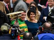 10 March 2020; Barry Geraghty celebrates with wife Paula Geraghty after winning the Unibet Champion Hurdle Challenge Trophy on Epatante during Day One of the Cheltenham Racing Festival at Prestbury Park in Cheltenham, England. Photo by Harry Murphy/Sportsfile