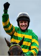 10 March 2020; Jockey Barry Geraghty celebrates after winning the Unibet Champion Hurdle Challenge Trophy on Epatante on Day One of the Cheltenham Racing Festival at Prestbury Park in Cheltenham, England. Photo by David Fitzgerald/Sportsfile