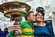 10 March 2020; Jockey Barry Geraghty kisses his wife Paula after winning the Unibet Champion Hurdle Challenge Trophy on Epatante on Day One of the Cheltenham Racing Festival at Prestbury Park in Cheltenham, England. Photo by David Fitzgerald/Sportsfile