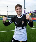 10 March 2020; Tadhg Brophy of Newbridge College celebrates following the Bank of Ireland Leinster Schools Junior Cup Semi-Final match between Terenure College and Newbridge College at Energia Park in Donnybrook, Dublin. Photo by Ramsey Cardy/Sportsfile