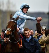 10 March 2020; Jockey Rachael Blackmore celebrates after winning the Close Brothers Mares´ Hurdle on Honeysuckle during Day One of the Cheltenham Racing Festival at Prestbury Park in Cheltenham, England. Photo by David Fitzgerald/Sportsfile