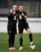 10 March 2020; Grace Moloney, left, and Katie McCabe during a Republic of Ireland Women training session at Pod Malim Brdom in Petrovac, Montenegro. Photo by Stephen McCarthy/Sportsfile