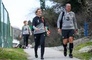 10 March 2020; Manager Vera Pauw, left, and goalkeeping coach Jan Willem van Ede arrive for a Republic of Ireland Women training session at Pod Malim Brdom in Petrovac, Montenegro. Photo by Stephen McCarthy/Sportsfile