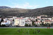 10 March 2020; Republic of Ireland players warm up during a training session at Pod Malim Brdom in Petrovac, Montenegro. Photo by Stephen McCarthy/Sportsfile