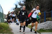 10 March 2020; Denise O'Sullivan and Hannah Tobin-Jones, team masseuse, arrive for a Republic of Ireland Women training session at Pod Malim Brdom in Petrovac, Montenegro. Photo by Stephen McCarthy/Sportsfile