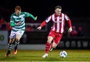 7 March 2020; David Cawley of Sligo Rovers and Rory Gaffney of Shamrock Rovers during the SSE Airtricity League Premier Division match between Sligo Rovers and Shamrock Rovers at The Showgrounds in Sligo. Photo by Stephen McCarthy/Sportsfile