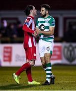 7 March 2020; Roberto Lopes of Shamrock Rovers and Ronan Coughlan of Sligo Rovers shake hands following the SSE Airtricity League Premier Division match between Sligo Rovers and Shamrock Rovers at The Showgrounds in Sligo. Photo by Stephen McCarthy/Sportsfile