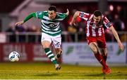 7 March 2020; Aaron Greene of Shamrock Rovers and Garry Buckley of Sligo Rovers during the SSE Airtricity League Premier Division match between Sligo Rovers and Shamrock Rovers at The Showgrounds in Sligo. Photo by Stephen McCarthy/Sportsfile