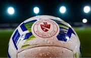 7 March 2020; A detailed view of the match ball prior to the SSE Airtricity League Premier Division match between Sligo Rovers and Shamrock Rovers at The Showgrounds in Sligo. Photo by Stephen McCarthy/Sportsfile