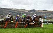 10 March 2020; Sharjah, with Patrick Mullins up, on the rails, leads the eventual winner, Epatante, with Barry Geraghty up, as they jump the last during the Unibet Champion Hurdle Challenge Trophy on Day One of the Cheltenham Racing Festival at Prestbury Park in Cheltenham, England. Photo by David Fitzgerald/Sportsfile