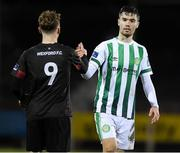 10 March 2020; Tristan Noack Hofmann of Bray Wanderers and Conor English of Wexford FC shake hands after the EA Sports Cup First Round match between Wexford FC and Bray Wanderers at Ferrycarrig Park in Wexford. Photo by Matt Browne/Sportsfile