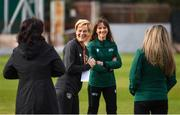 11 March 2020; Republic of Ireland manager Vera Pauw greets match officials ahead of the UEFA Women's 2021 European Championships Qualifier match between Montenegro and Republic of Ireland at Pod Malim Brdom in Petrovac, Montenegro. Photo by Stephen McCarthy/Sportsfile
