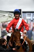 11 March 2020; Jockey Davy Russell on Envoi Allen celebrates winning the Ballymore Novices' Hurdle on Day Two of the Cheltenham Racing Festival at Prestbury Park in Cheltenham, England. Photo by Harry Murphy/Sportsfile