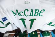 11 March 2020; A detailed view of the jersey of Republic of Ireland captain Katie McCabe ahead of the UEFA Women's 2021 European Championships Qualifier match between Montenegro and Republic of Ireland at Pod Malim Brdom in Petrovac, Montenegro. Photo by Stephen McCarthy/Sportsfile