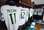 11 March 2020; Republic of Ireland jerseys hang in the dressing room ahead of the UEFA Women's 2021 European Championships Qualifier match between Montenegro and Republic of Ireland at Pod Malim Brdom in Petrovac, Montenegro. Photo by Stephen McCarthy/Sportsfile