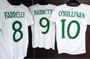 11 March 2020; The Republic of Ireland jerseys of, from left, Niamh Farrelly, Amber Barrett, and Denise O'Sullivan, hang in the dressing room ahead of the UEFA Women's 2021 European Championships Qualifier match between Montenegro and Republic of Ireland at Pod Malim Brdom in Petrovac, Montenegro. Photo by Stephen McCarthy/Sportsfile