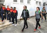 11 March 2020; Republic of Ireland players Louise Quinn, left, and Niamh Fahey arrive prior to the UEFA Women's 2021 European Championships Qualifier match between Montenegro and Republic of Ireland at Pod Malim Brdom in Petrovac, Montenegro. Photo by Stephen McCarthy/Sportsfile