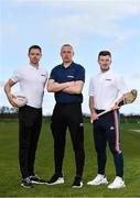 11 March 2020; Dublin footballer Dean Rock, left, and Cork Hurler Patrick Horgan, were in Abbotstown today along with Sky Sports Analyst Kieran Donaghy, centre, to announce that Sky Sports will this year visit Clare, Louth, Longford and Roscommon with a special focus on Health & Wellbeing as part of its grassroots partnership on GAA Super Games. The visits will be documented by Sky Sports for a new midweek GAA show called Inside the Game and will also feature on Sky Sports' social channels. Photo by Sam Barnes/Sportsfile