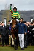 11 March 2020; Jockey Barry Geraghty on Champ celebrates after winning the RSA Insurance Novices' Chase on Day Two of the Cheltenham Racing Festival at Prestbury Park in Cheltenham, England. Photo by Harry Murphy/Sportsfile