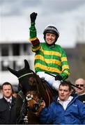 11 March 2020; Jockey Barry Geraghty celebrates after winning the RSA Insurance Novices' Chase on Dame De Compagnie during Day Two of the Cheltenham Racing Festival at Prestbury Park in Cheltenham, England. Photo by Harry Murphy/Sportsfile