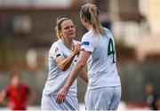 11 March 2020; Diane Caldwell of Republic of Ireland, left, celebrates after scoring her side's first goal with team-mate Louise Quinn during the UEFA Women's 2021 European Championships Qualifier match between Montenegro and Republic of Ireland at Pod Malim Brdom in Petrovac, Montenegro. Photo by Stephen McCarthy/Sportsfile