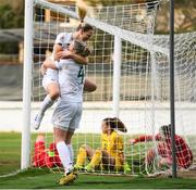 11 March 2020; Diane Caldwell of Republic of Ireland, top, celebrates after scoring her side's first goal with team-mate Louise Quinn during the UEFA Women's 2021 European Championships Qualifier match between Montenegro and Republic of Ireland at Pod Malim Brdom in Petrovac, Montenegro. Photo by Stephen McCarthy/Sportsfile