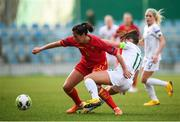 11 March 2020; Armisa Kuc of Montenegro in action against Katie McCabe of Republic of Ireland during the UEFA Women's 2021 European Championships Qualifier match between Montenegro and Republic of Ireland at Pod Malim Brdom in Petrovac, Montenegro. Photo by Stephen McCarthy/Sportsfile