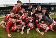11 March 2020; CBS Roscommon players celebrate after the Top Oil Connacht Schools Senior A Cup Final match between CBS Roscommon and St Muredach's College at The Sportsground in Galway. Photo by Matt Browne/Sportsfile