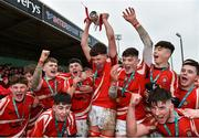 11 March 2020; CBS Roscommon captain Ciaran Purcell lifts the cup as his team-mates celebrate after the Top Oil Connacht Schools Senior A Cup Final match between CBS Roscommon and St Muredach's College at The Sportsground in Galway. Photo by Matt Browne/Sportsfile