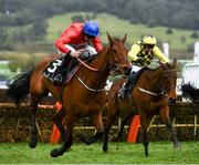 11 March 2020; Envoi Allen, with Davy Russell up, race clear of The Big Getaway, with Paul Townend up, during the Ballymore Novices' Hurdle on Day Two of the Cheltenham Racing Festival at Prestbury Park in Cheltenham, England. Photo by Harry Murphy/Sportsfile