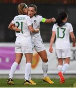 11 March 2020; Katie McCabe of Republic of Ireland is congratulated by team-mate Ruesha Littlejohn after scoring her side's second goal during the UEFA Women's 2021 European Championships Qualifier match between Montenegro and Republic of Ireland at Pod Malim Brdom in Petrovac, Montenegro. Photo by Stephen McCarthy/Sportsfile