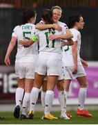 11 March 2020; Katie McCabe of Republic of Ireland is congratulated by team-mate Diane Caldwell after scoring her side's second goal during the UEFA Women's 2021 European Championships Qualifier match between Montenegro and Republic of Ireland at Pod Malim Brdom in Petrovac, Montenegro. Photo by Stephen McCarthy/Sportsfile