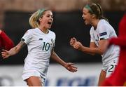 11 March 2020; Denise O'Sullivan of Republic of Ireland celebrates after scoring her side's third goal with team-mate Ruesha Littlejohn, right, during the UEFA Women's 2021 European Championships Qualifier match between Montenegro and Republic of Ireland at Pod Malim Brdom in Petrovac, Montenegro. Photo by Stephen McCarthy/Sportsfile