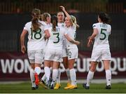 11 March 2020; Republic of Ireland players celebrate after their side's second goal, scored by Katie McCabe, during the UEFA Women's 2021 European Championships Qualifier match between Montenegro and Republic of Ireland at Pod Malim Brdom in Petrovac, Montenegro. Photo by Stephen McCarthy/Sportsfile