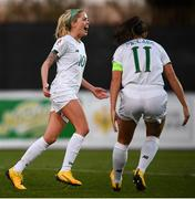 11 March 2020; Denise O'Sullivan of Republic of Ireland celebrates after scoring her side's third goal during the UEFA Women's 2021 European Championships Qualifier match between Montenegro and Republic of Ireland at Pod Malim Brdom in Petrovac, Montenegro. Photo by Stephen McCarthy/Sportsfile