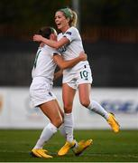 11 March 2020; Denise O'Sullivan of Republic of Ireland celebrates after scoring her side's third goal with team-mate Katie McCabe during the UEFA Women's 2021 European Championships Qualifier match between Montenegro and Republic of Ireland at Pod Malim Brdom in Petrovac, Montenegro. Photo by Stephen McCarthy/Sportsfile
