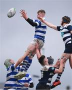 11 March 2020; Daithi Blackweir of Garbally College wins possession in the lineout against David Barlow of Sligo Grammar during the Top Oil Connacht Schools Senior A Cup Final match between Garbally College and Sligo Grammar at The Sportsground in Galway. Photo by Matt Browne/Sportsfile