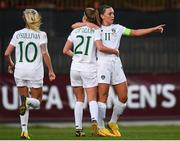 11 March 2020; Katie McCabe of Republic of Ireland celebrates with team-mate Ruesha Littlejohn, 21, after scoring her side's second goal during the UEFA Women's 2021 European Championships Qualifier match between Montenegro and Republic of Ireland at Pod Malim Brdom in Petrovac, Montenegro. Photo by Stephen McCarthy/Sportsfile